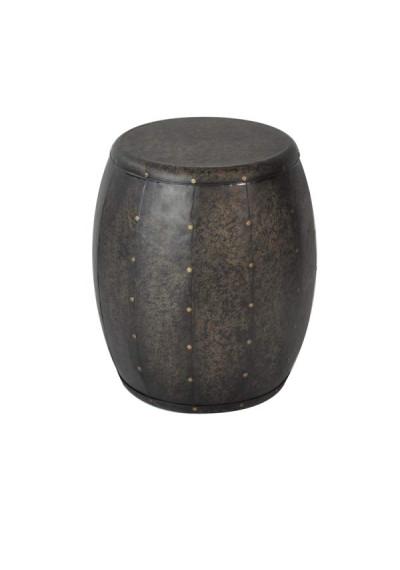 Bronze Finish Metal Drum Table