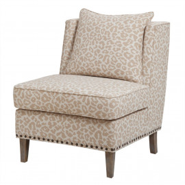 Ivory Animal Print Accent Slipper Chair