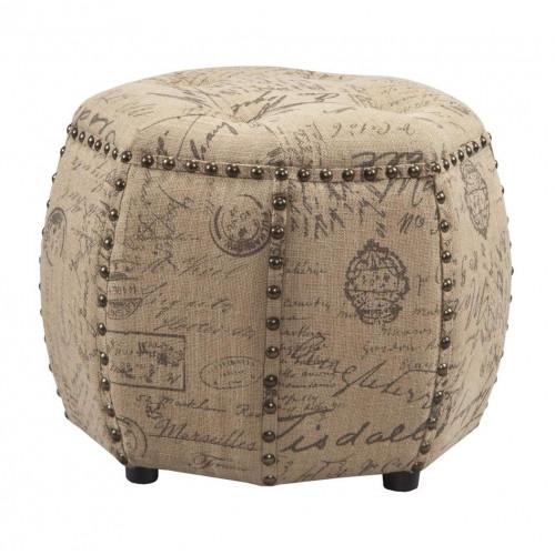 Burlap French Script Ottoman Footstool Table