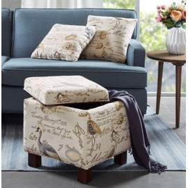 Bird Print Storage Ottoman with Pillows