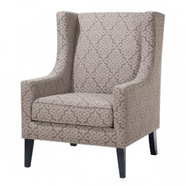 Beige Lace Print Wing Backed Parlor Chair
