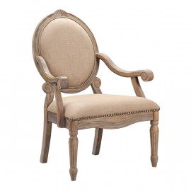 Beige Oval Back Reclaimed Wood Arm Chair Dining