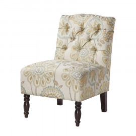 Floral Tufted Armless Accent Slipper Chair