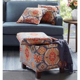 Southwestern Navajo Pattern Storage Ottoman with Pillows