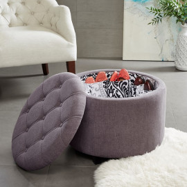 Grey Fabric Round Storage Ottoman Footstool