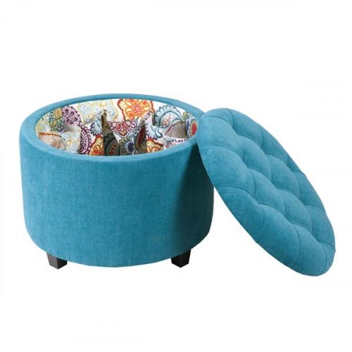 Blue Turquoise Fabric Round Storage Ottoman Footstool