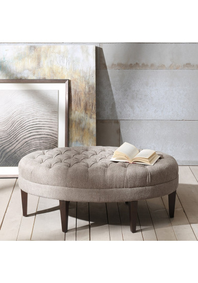 Grey Linen Look Oval Coffee Table Ottoman Bench
