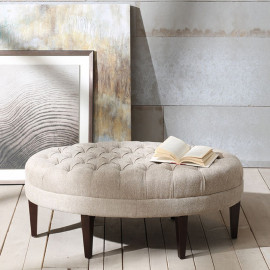 Linen Colored Oval Coffee Table Ottoman