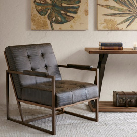 Brown Eco Leather Alligator Embossed Lounge Chair
