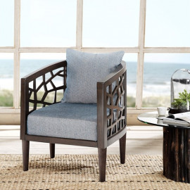 Cracked Design Accent Chair Grey Blue Fabric