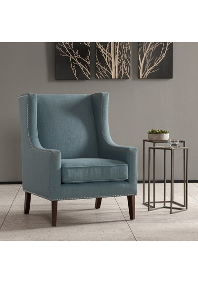 Blue Wing Backed Parlor Chair