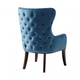 Blue Button Tufted Back Wing Chair