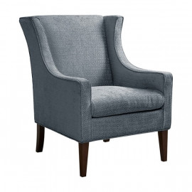 Blue Fabric Flip Wing Accent Chair