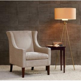 Cream Fabric Flip Wing Accent Chair