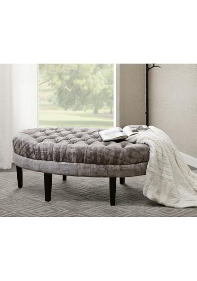 Textured Grey Velvet Oval Coffee Table Ottoman