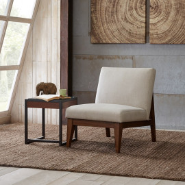 Low Off White Slat Back Armless Accent Chair