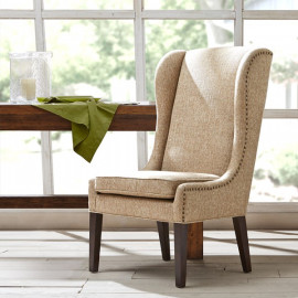 Beige High Back Dining Chair Nail Detailing