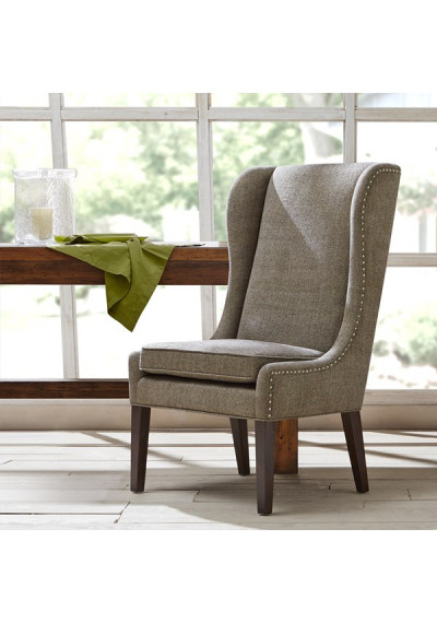 Grey High Back Dining Chair Nail Detailing