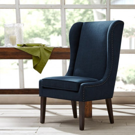 Blue High Back Dining Chair Nail Detailing