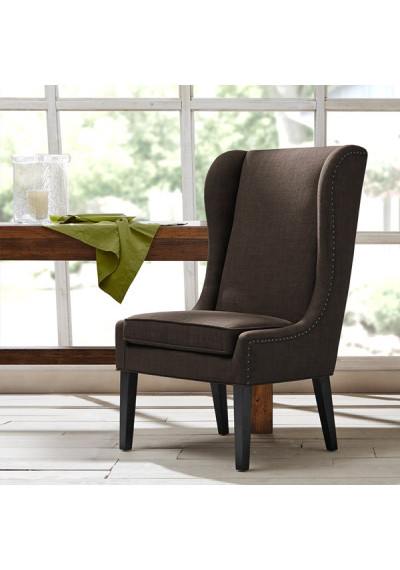 Charcoal Grey High Back Dining Chair Nail Detailing
