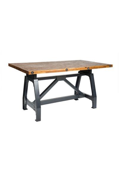 Industrial Wood & Metal Adjustable Gathering or Dining Table