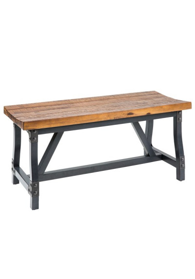 Industrial Wood Metal Dining Bench