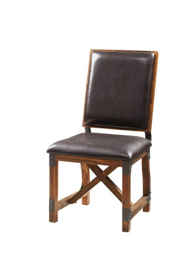 Industrial Wood Brown Eco Leather & Metal Dining Chair