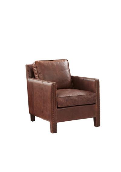 Tan Leather Nail Head Trim Accent Chair