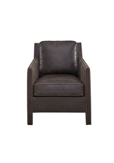 Dark Chocolate Leather Nail Head Trim Accent Chair