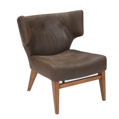 Chocolate Brown Top Grain Leather Tufted Slipper Chair
