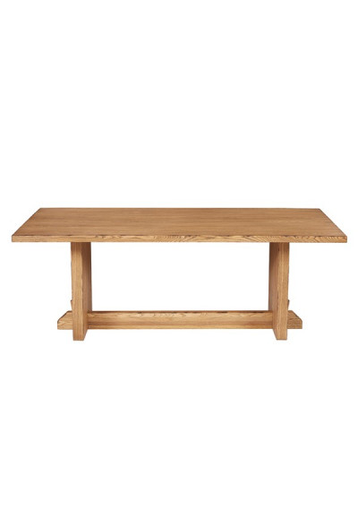 Natural Aged Oak Finish Industrial Farmhouse Dining Table