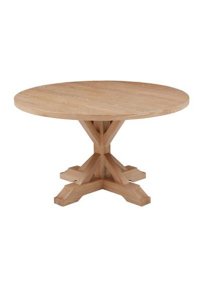 Round Top X Base Natural Whitewash Farmhouse Dining Table