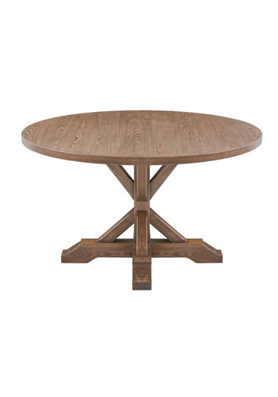 Round Top X Base Washed Brown Farmhouse Dining Table