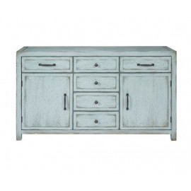 Light Blue Weathered Finish Buffet Sideboard Cabinet