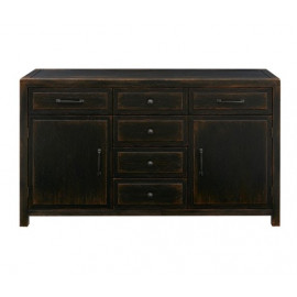 Antique Black Finish Buffet Sideboard Cabinet