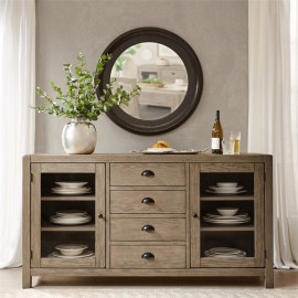 Grey Wash Cottage Buffet Sideboard Cabinet