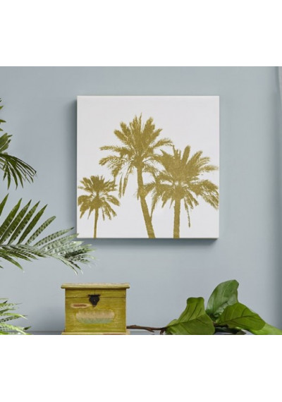 Gold Foiled Palm Trees on White Canvas Wall Art