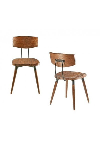 Industrial Wood & Metal Curved Back Chair Set 2