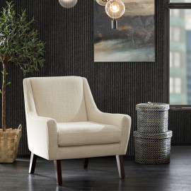 Cream Contemporary Modern Lounge Chair Dark Legs