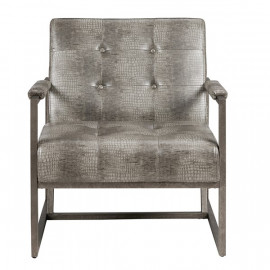 Grey Eco Leather Alligator Embossed Lounge Chair