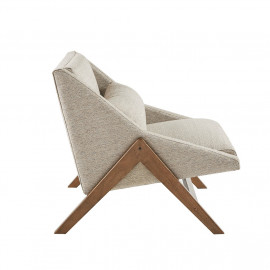 Beige Mid Century Boomerang Lounge Chair