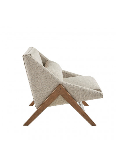 Beige Mid Century Boomerang Lounge Chair