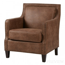 Brown Faux Leather Western Cabin Accent Chair