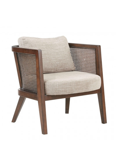 Wood Cane Insert Beige Fabric Accent ArmChair