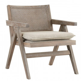 Grey Aged Wood Finish Rattan Cane Back Accent Chair