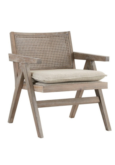 Grey Aged Wood Finish Rattan Back Accent Chair
