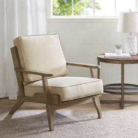 Beach Bungalow Wood & Natural Color Fabric Lounge Chair