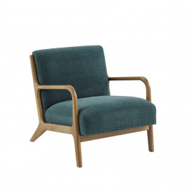 Dusty Teal Fabric & Elm Wood Finish Lounge Chair