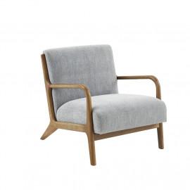 Light Grey Fabric & Elm Wood Finish Lounge Chair