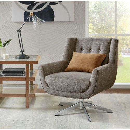 Brown Fabric Silver Base Mid Century Swivel Chair